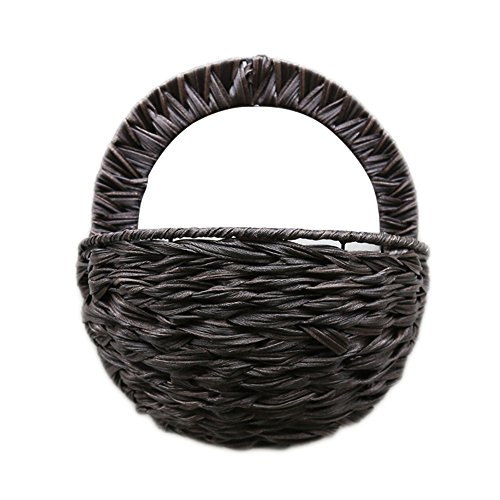 (Oshide Wall Hanging Flower Basket Mounted Rattan Braided Flower Pot Decorative Planter Vase Container Home Decor)