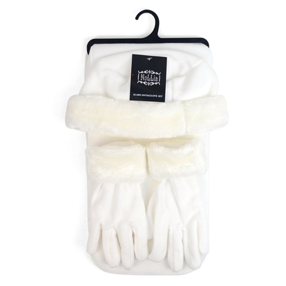 Women's 3 PC Cloche Faux Fur Trim Fleece Hat Scarf & Gloves Winter Set (Winter White)