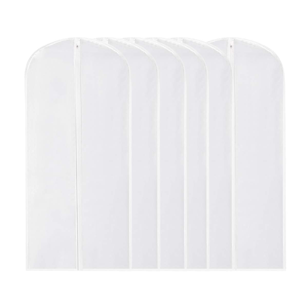 Garment Bag Clear,54 Inch Long Dress Moth Proof Garment Bags Dust Cover White Breathable Full Zipper for Dance Clothes Closet Pack of 6