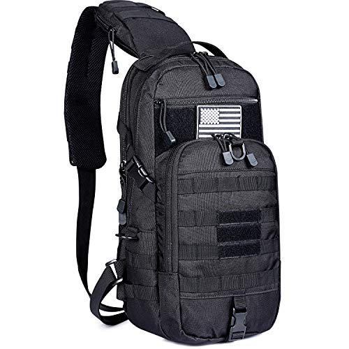 G4Free Tactical Sling Backpack Kit, Molle Chest Shoulder Pack Small Rover Range One Strap Daypack Military EDC Development Bag(Black) ()