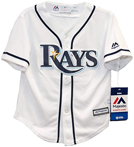 (Majestic MLB Tampa Bay Rays White/Navy Blue Baseball Jersey (Large 7))