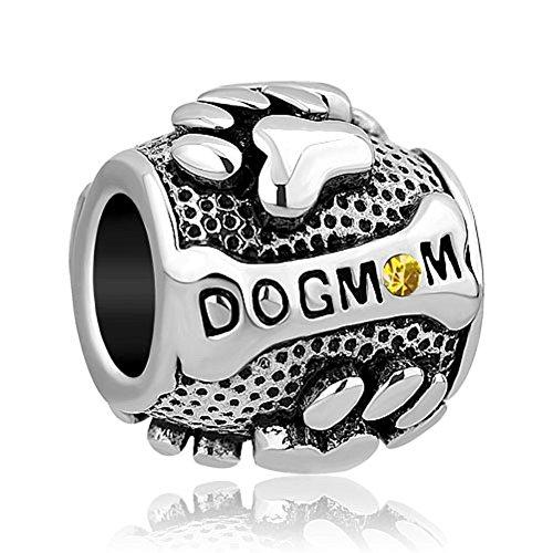 November Dog Mom Charm Animal Paw Print Charms Bead fit Bracelet