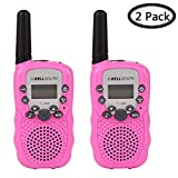Walkie Talkies for Kids, Womdee 22 Channel Hand Held Walkie Talkie with 3 Miles Range & Built in Flash Light, Toys for 3-12 Year Old Children, Best Gifts for Christmas Birthday New Year (Pink)