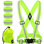 HiVisible Reflective Vest + 4 Reflective Bands – Reflective Running Gear for Men and Women for Night Running, Biking, Walking. Reflective Running Vest, Safety Straps, Reflector Strips
