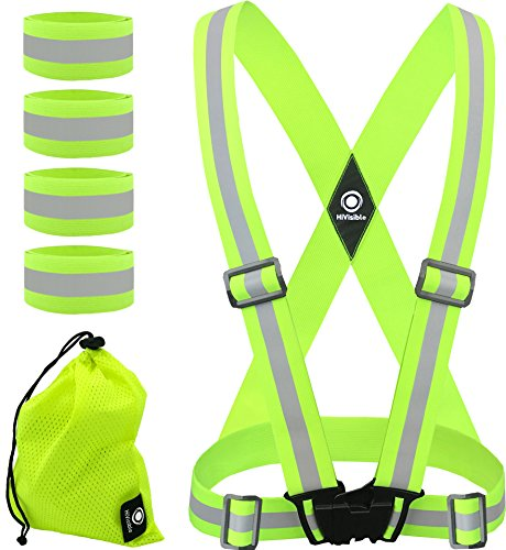 High Visibility Reflective Vest + 4 Safety Reflector Bands. Reflective Running Gear for Men and Women for Night Running, Cycling, Walking (Green Vest + 4 Bands)