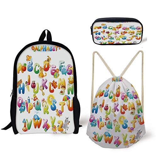 Alphabet Climbing Holds - iPrint Schoolbag,Pencil Box,Drawstring Bag,Backpacks,3D Print,Fun Alphabet Design Kids Cute Font Preschool,3 Pieces Shoulder School Bags All studends