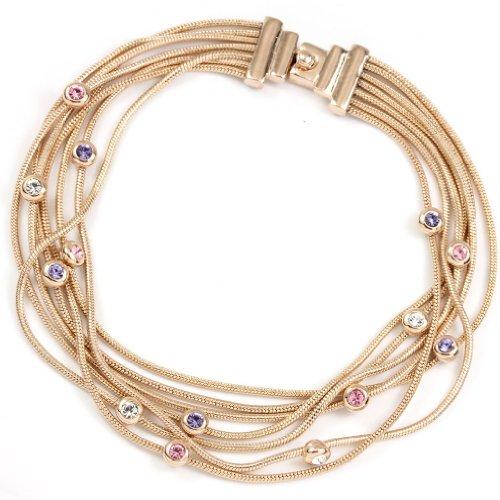 FC JORY Rose Gold Plated Multi Layers Crystal Pink Purple Round Bezel set Crystal Snake Chain Bracelet ()