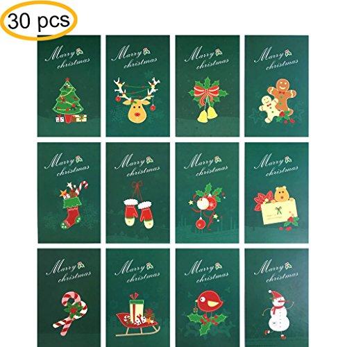 "Rumcent Christmas Postcard, Dark Green Atmosphere Christmas Postcard , Size: 14.3 x 9.3 CM (5.6"" x 3.6""), Pack of 30pcs"