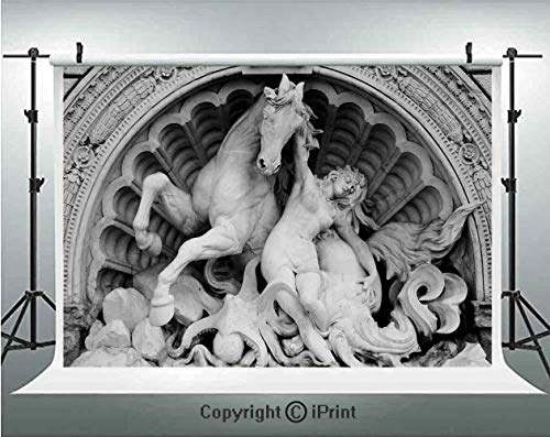 Sculptures Decor Photography Backdrops A Struggling Nymph with Octopus Seashell Horse in a Lunette Sculpture Art in Bologna,Birthday Party Background Customized Microfiber Photo Studio - Crown Iron Sculpture