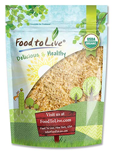 Organic Ground Golden Flaxseed Meal (Cold-Milled, Raw, Non-GMO, Kosher, Bulk) by Food to live - 8 Ounces