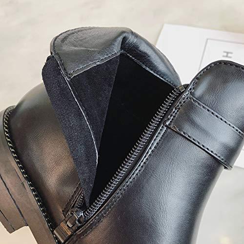 HBDLH Scarpe Scarpe Scarpe da Donna Brutto Mascalzone Nude Stivali Tacco Altezza 3Cm Metallo Fibbia Fondo Piatto Velvet Martin Stivali 35 nero | Eleganti  181863
