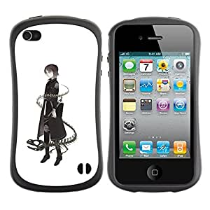LASTONE PHONE CASE / Suave Silicona Caso Carcasa de Caucho Funda para Apple Iphone 4 / 4S / Lady Dragon Snake Deep Meaning