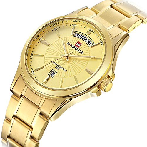 (Tamlee Mens Gold Plated Analog Quartz Waterproof Stainless Steel Wrist Watch with Classic Design Calendar)