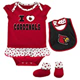 NCAA Louisville Cardinals Newborn & Infant Team Love Bib & Booties Set, Dark Red, 18 Months