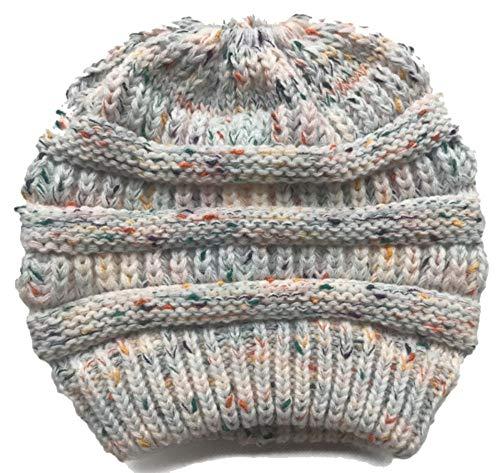SUleeBF Women's BeanieTail Soft Stretch Cable Knit Messy High Bun Ponytail Hat Winter Cap (White Flower ()