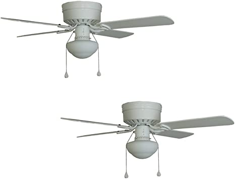 Set Of 2 Harbor Breeze Armitage 42 In White Flush Mount Ceiling Fan With Light Kit