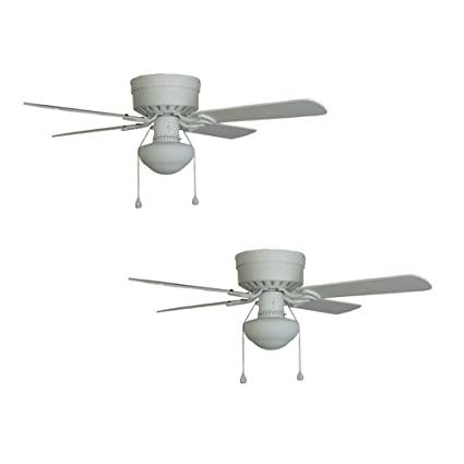 Set Of 2 Harbor Breeze Armitage 42 In White Flush Mount Ceiling Fan With  Light