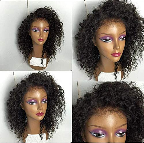 ALYSSA Natural Deep Curly Lace Front Wigs Human Hair Free Part Indian Virgin Lace Wig For Woman 12in Natural Black
