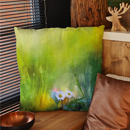 sunsunshine Flower square pillow cases Oil Paint Print Daisies in Field Blurry Effects Nature Depiction Artistic Manner silk pillow cases Green White ()