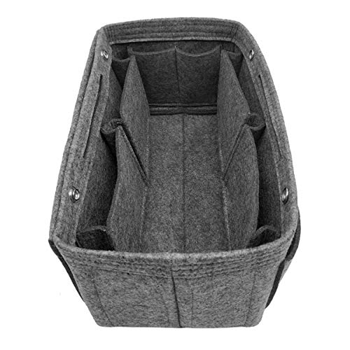 (LEXSION Felt Fabric Purse Handbag Organizer Bag - MultiPocket Insert Bag 8008 Gray S)