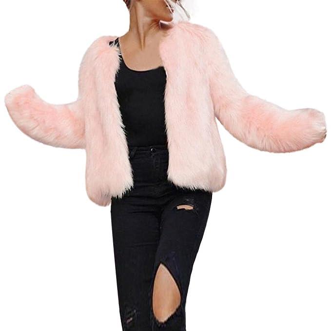 koly Chaquetas abrigo Rosa Mujer, Mujer Invierno Caliente Manga Larga Piel de imitación Abrigos Chaleco de la Capa sólida Abrigo Chaqueta Mujeres ...