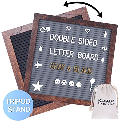 "Felt Letter Board 12""x12"" Double Sided Letter Board with 730 Pre-Cut White & Gold Letters, Changeable Message Board, Wood Frame Word Board for Quotes, Messages, Displays, Words & More"