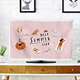 Analisahome Dust Resistant Television Protector Summer Beach Poster People swimm and HAV Fun in The Ocean Summertime Travel tv dust Cover W19 x H30 INCH/TV 32''