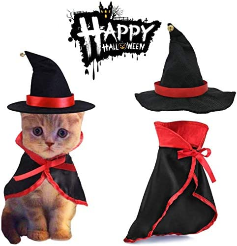 TOLOG Cat Halloween Costumes 2Pcs-Vampire Cloak and Wizard Hat for Halloween Dog Outfit Fairy Pet Cosplay Apparel Kitten Puppy Clothes 19