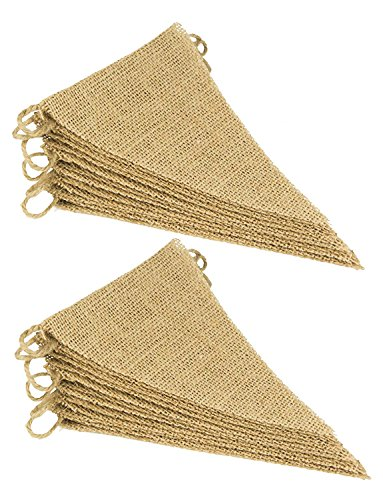 (Cotton Craft - 2 Pack - 30 Pieces - Jute Natural Burlap Triangle Banner Garland - Each 14.5 feet Long with 15 Flags - DIY Decoration for Holidays, Wedding, Camping, Kids Party, and Happy Birthdays)