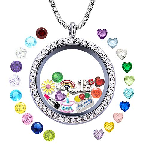 - JOLIN Happy 18th Birthday Gift, Women Girl's Floating Living Memory Locket Necklace with Charms & Birthstones, Magnetic Closure 30mm DIY Stainless Steel Pendant