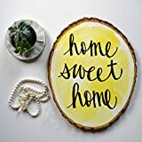 Yellow Home Sweet Home Wood Slice Sign Modern Rustic Wall Hanging Home...