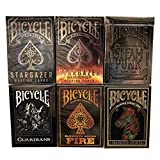 New Bicycle Playing Cards 6 Deck Collector's Bundle - Stargazer, Stargazer Sunspot, Steampunk Sliver, Guardians, Fire and Warrior Horse.