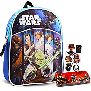 Star Wars Mini Backpack Bundle Set for Preschool Toddlers ~ Deluxe 11″ Star Wars Backpack for Boys Kids with Utensil Case and Stickers (Star Wars School Supplies)