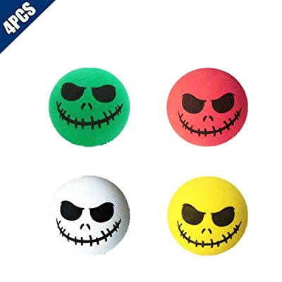 KOOBOOK 4Pcs Funny Halloween Skull Smile Car Antenna Topper Aerial Ball Car Antenna Decoration Doll: Clothing