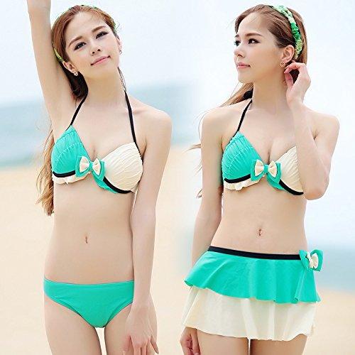 ZHANGYONG*Modèle Maillot 3 pièces bikini grande poitrine petites particules d'acier et au printemps sexy poitrine maillot split ,XL, vert