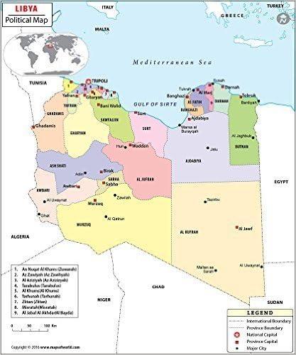 Mapa Politico De Libia 36 W X 43 1 Cm H Amazon Es Oficina Y