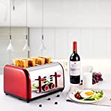 4-Slice Toaster, CUSIBOX Stainless Steel Toaster Four Wide Slots with 7 Bread Browning Settings, REHEAT/DEFROST/CANCEL Function, 1400W, Red