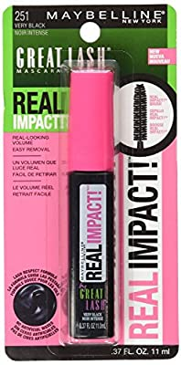Maybelline New York Great Lash Real Impact Washable Mascara, Very Black, 0.37 Fluid Ounce , (Pack of 2)
