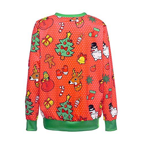 O Imprimées Sweat Chemises 1 De Automne Santa Longues Pulls neck Manches Festival Lâche Blouse shirt Noël Hiver T Nouveau Mode Tops Piebo Femme Rouge 7qZnwgC0