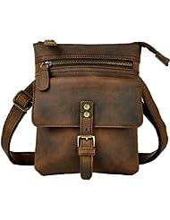 Leaokuu Men Leather Multifunction Fashion Casual Crossbody Messenger Shoulder Bag Designer Fanny Waist Belt Pack...