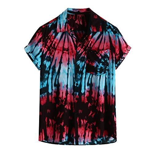 GDJGTA Shirts for Mens Hawaiian Printed Cotton Linen Loose Short Sleeve Casual Buttons T-Shirt ()