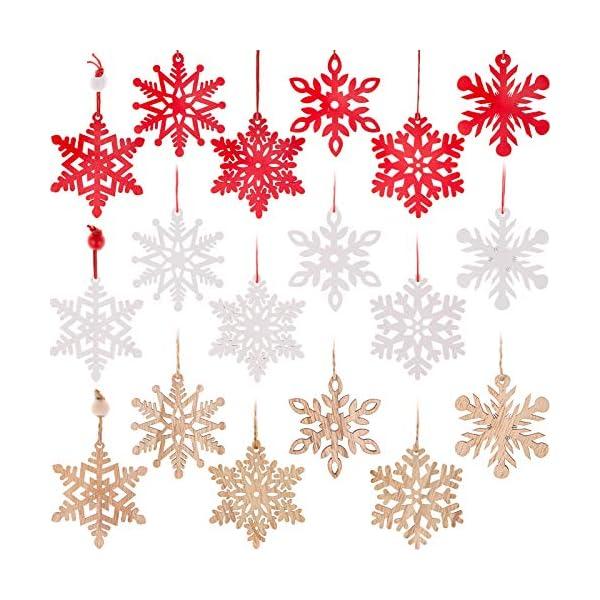 MELLIEX 18 Pezzi di Natale in Legno con Fiocchi di Neve Ornamenti, 3 Colori Albero di Natale Appeso Decorazioni Ciondolo, Natale Artigianato in Legno Abbellimento con Spago 1 spesavip
