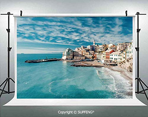 Photography Background Panorama of Old Italian Fish Village Beach Old Province Coastal Charm Image 3D Backdrops for Photography Backdrop Photo Background Studio Prop