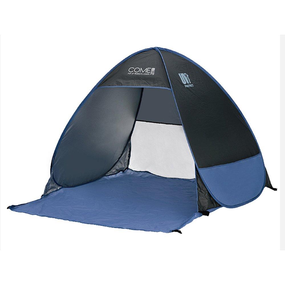 Allight Outdoor Strandzelt Strandmuscheln Zelte Family Automatik Schnell 1 Sekunden Pop Up FeuchtigkeitsBesteändig Sonnenschutz UV-Schutz UV50+ Tragbares Super Leicht Blau und Schwarz, Geeignet, für 2 oder 3 Personen (Schwarz)