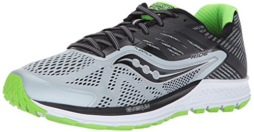 Saucony Men's Ride 10 Running Shoe, Grey Black 27, 9.5 M US
