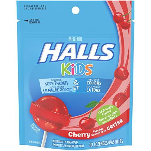 Halls Kids Cherry Cough and Sore Throat Pops - for Children - 10 Pops (1 bag of 10 Pops)
