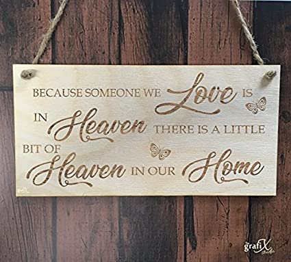 Amazon.com: hiusan Because Someone In Heaven Wood Sign for ...