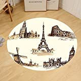 Gzhihine Custom round floor mat Ancient European Landmark Traveller Tourist Cities Italy France Spain Sketchy Image Bedroom Living Room Dorm Brown and Cream