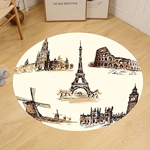 Gzhihine Custom round floor mat Ancient European Landmark Traveller Tourist Cities Italy France Spain Sketchy Image Bedroom Living Room Dorm Brown and Cream by Gzhihine