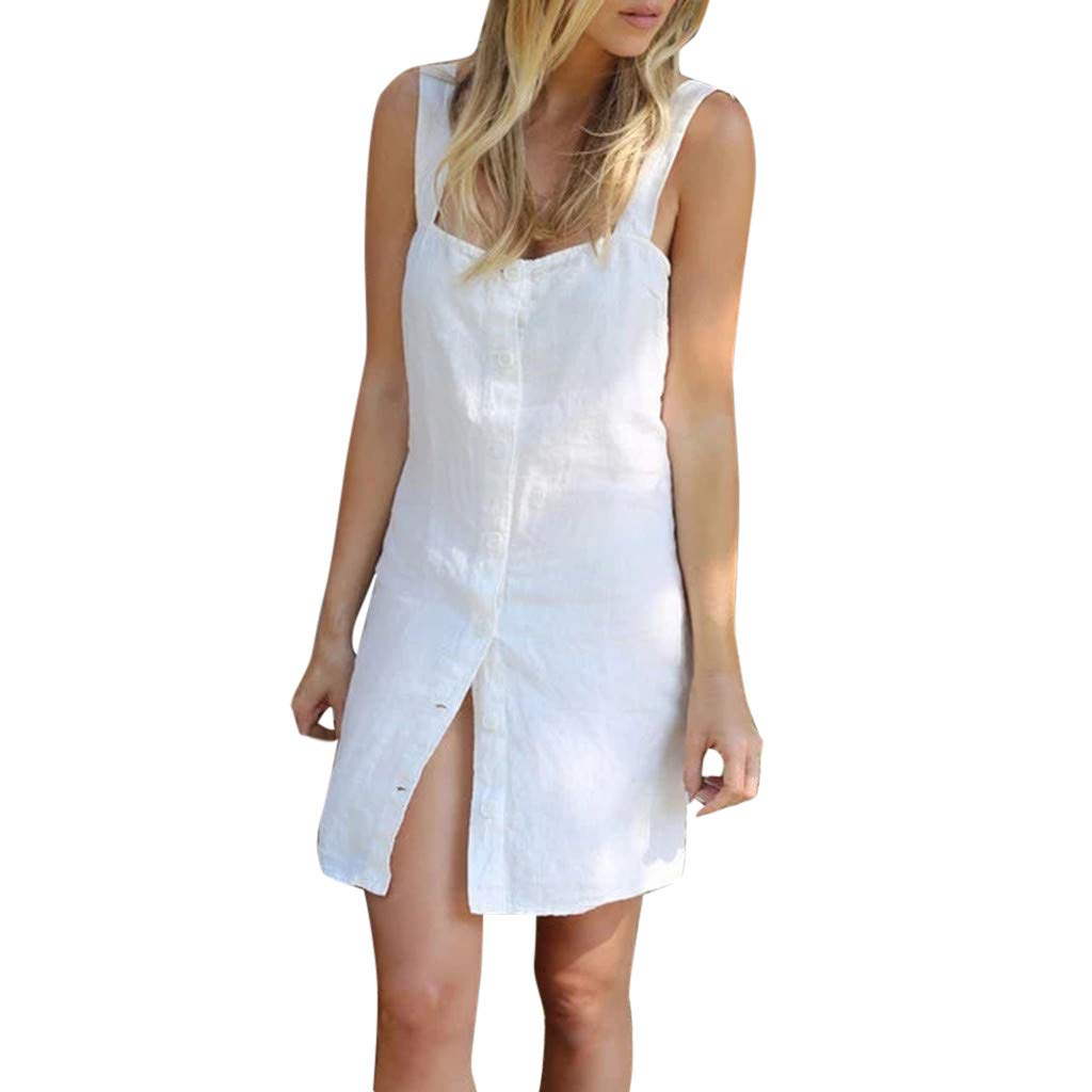 Twinsmall Mini Dress, Womens Summer Sleeveless Dress Strap Casual Solid Loose Button Midi Dress (M, White)